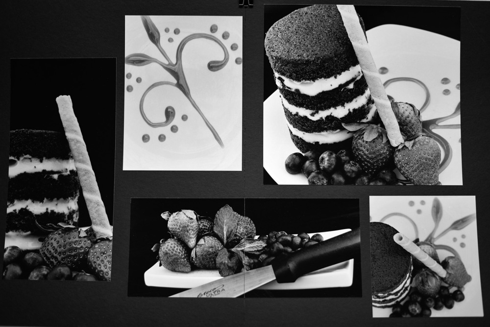 Marjory_Casseus layout of small desert cakes, strawbeeies, and pastry tools.