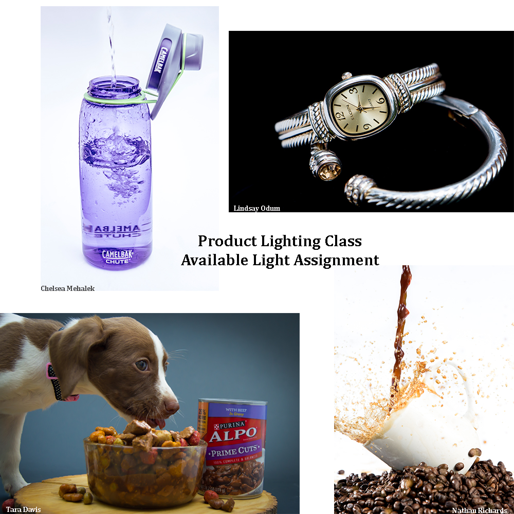 Product images of a water bottle, a watch, A splashing cup of coffee and a puppy getting some food to eat.