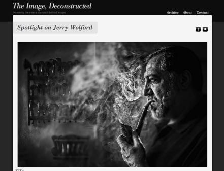Man smoking pipe.