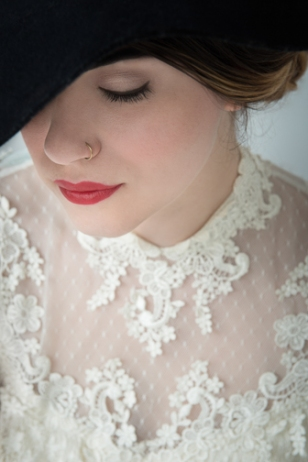 Close up of a bride showing only one eye, nose and lips.